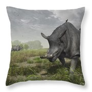 Brontotherium Wander The Lush Late Throw Pillow by Walter Myers