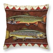 Brook And Brown Trout Lodge Throw Pillow by JQ Licensing