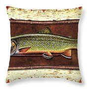 Brook Trout Lodge Throw Pillow by JQ Licensing