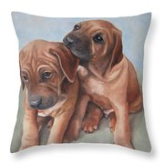 Brothers Throw Pillow by Jindra Noewi