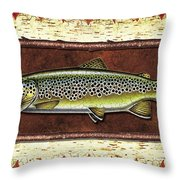 Brown Trout Lodge Throw Pillow by JQ Licensing