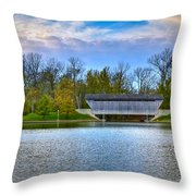 Brownsville Covered Bridge Throw Pillow by Jack R Perry