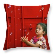 Bubbling Girl Throw Pillow by Aimelle