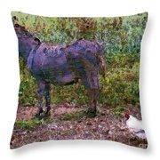 Buddies Take A Walk Throw Pillow by Methune Hively