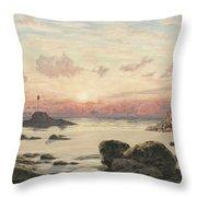 Bude Sands at Sunset Throw Pillow by John Brett