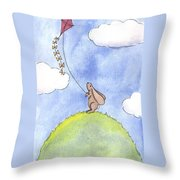 Bunny With A Kite Throw Pillow by Christy Beckwith
