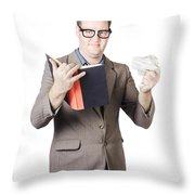Businessman With Book And Crumpled Paper Throw Pillow by Ryan Jorgensen