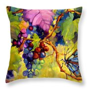 Butterfly And Grapes Throw Pillow by Peggy Wilson