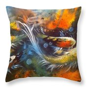 Butterfly Koi Dance Throw Pillow by Gloria Avner