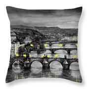 Bw Prague Bridges Throw Pillow by Yuriy  Shevchuk