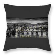Bw Prague Bridges Throw Pillow by Yuriy  Shevchuk