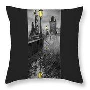Bw Prague Charles Bridge 01 Throw Pillow by Yuriy  Shevchuk