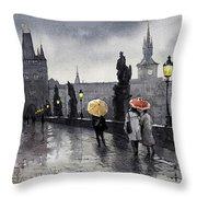 Bw Prague Charles Bridge 05 Throw Pillow by Yuriy  Shevchuk