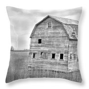 Bw Rustic Barn Lightning Strike Fine Art Photo Throw Pillow by James BO  Insogna