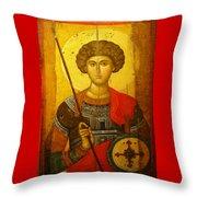Byzantine Knight Throw Pillow by Ellen Henneke