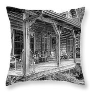 Cabin On The Hill Throw Pillow by Tom Mc Nemar
