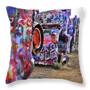 Cadillac Ranch Throw Pillow by Angela Wright