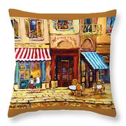 Cafe De Vieux Montreal With Couple Throw Pillow by Carole Spandau
