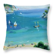 Cala Galdana - Minorca Throw Pillow by Anne Durham