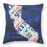 California License Plate Map On Blue Throw Pillow by Design Turnpike