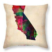 California Watercolor Map Throw Pillow by Naxart Studio