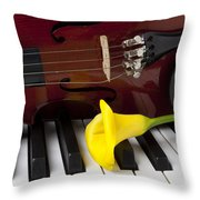 Calla Lily And Violin On Piano Throw Pillow by Garry Gay