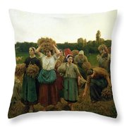 Calling in the Gleaners Throw Pillow by Jules Breton