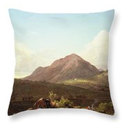 Camp Fire In The Maine Wilderness Throw Pillow by Frederic Edwin Church