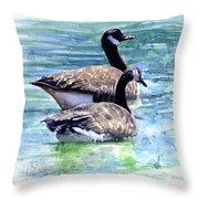 Canada Geese Throw Pillow by John D Benson