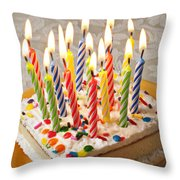Candles On Birthday Cake Throw Pillow by Garry Gay