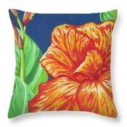 Canna Flower Throw Pillow by Adam Johnson