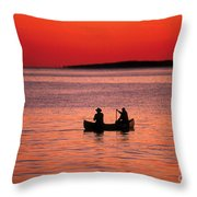 Canoe Fishing Throw Pillow by John Greim