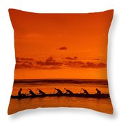 Canoe Paddlers Throw Pillow by Joe Carini - Printscapes