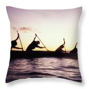 Canoe Race Throw Pillow by Bob Abraham - Printscapes