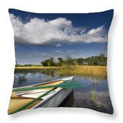 Canoeing In The Everglades Throw Pillow by Debra and Dave Vanderlaan