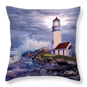 Cape Blanco Oregon Lighthouse on Rocky Shores Throw Pillow by Gina Femrite