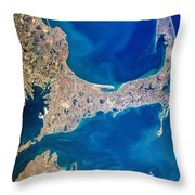 Cape Cod And Islands Spring 1997 View From Satellite Throw Pillow by Matt Suess