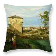 Capriccio With Motifs From Padua Throw Pillow by Canaletto