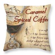 Caramel Spiced Coffee Throw Pillow by Debbie DeWitt