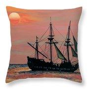Caribbean Pirate Ship Throw Pillow by Susan DeLain