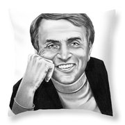 Carl Sagan Throw Pillow by Murphy Elliott