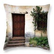 Carmel Mission Door Throw Pillow by Carol Groenen