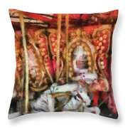 Carnival - The Carousel - Painted Throw Pillow by Mike Savad