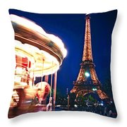 Carousel And Eiffel Tower Throw Pillow by Elena Elisseeva