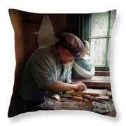 Carpenter - Carving The Figurehead  Throw Pillow by Mike Savad