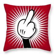 Cartoon Finger Throw Pillow by Tony Rubino