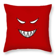 Cartoon Grinning Face With Evil Eyes Throw Pillow by Boriana Giormova