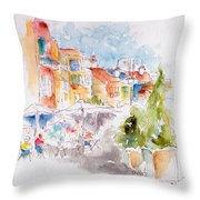 Cassis Along The Promenade Throw Pillow by Pat Katz