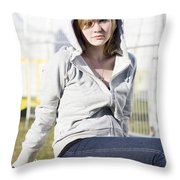 Casual Country Girl Throw Pillow by Jorgo Photography - Wall Art Gallery