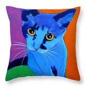 Cat - Kitten Blue Throw Pillow by Alicia VanNoy Call